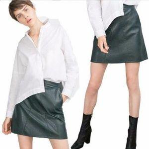 Zara Dark Green Leather Mini Skirt with Pockets